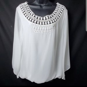 White Blouse with Detailed Collar